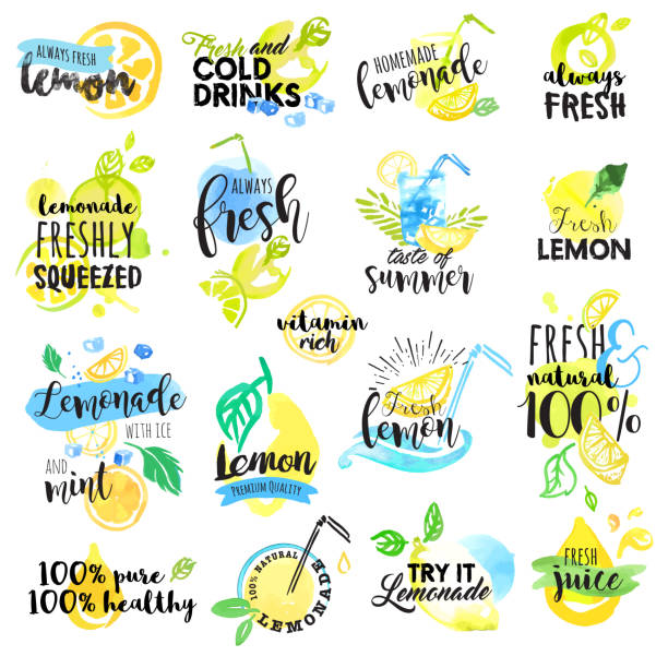 손 드로잉 워터컬러 라벨 및 징후가 레몬색 및 레모네이드 - 레모네이드 stock illustrations