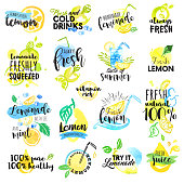 Set of hand drawn watercolor labels and signs of lemon and lemonade. Vector illustrations for graphic and web design, for restaurant and bar, menu.