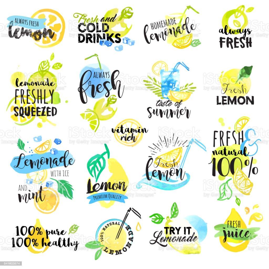 Hand drawn watercolor labels and signs of lemon and lemonade vector art illustration
