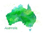 Hand drawn watercolor map of Australia in green colors isolated on white