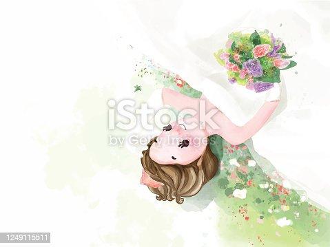 istock Hand drawn watercolor Portrait cute girl in Christmas festival. Vector illustration 1249115511
