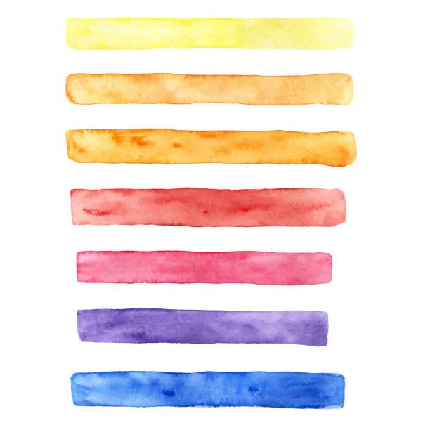 다양 한 색상의 브러시 획의 그려진된 수채화 세트 손: 노랑, 오렌지, 빨강, 파랑 및 자주색. 디자인에 대 한는 텍스처 - 수채화 stock illustrations