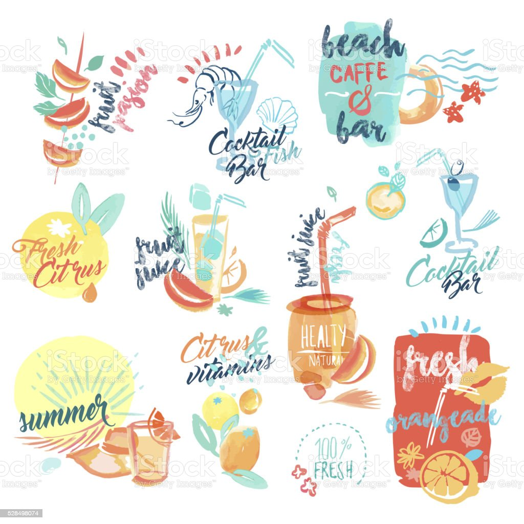 Hand drawn watercolor signs of fresh fruit juice and drinks vector art illustration