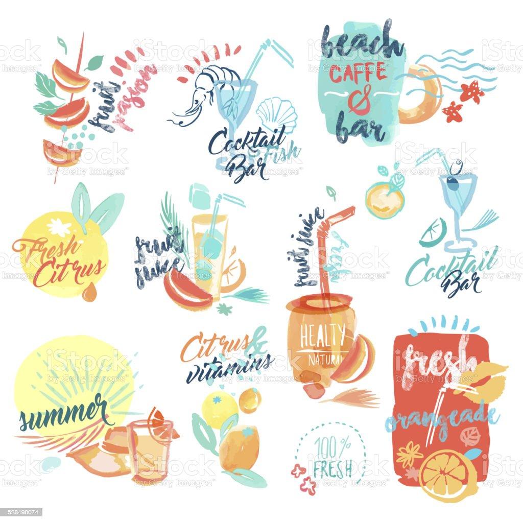 Dibujado a mano acuarela signos de jugo de frutas frescas y bebidas de cortesía - ilustración de arte vectorial