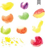 Hand drawn watercolor stain set. Oval shapes, splashes in red, green, purple, yellow color