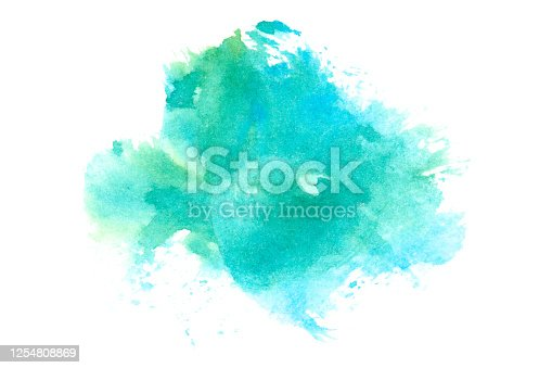 istock Hand drawn watercolor stain. 1254808869