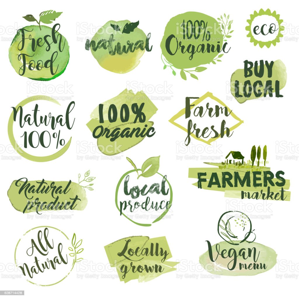 Hand drawn watercolor stickers and badges for organic food vector art illustration