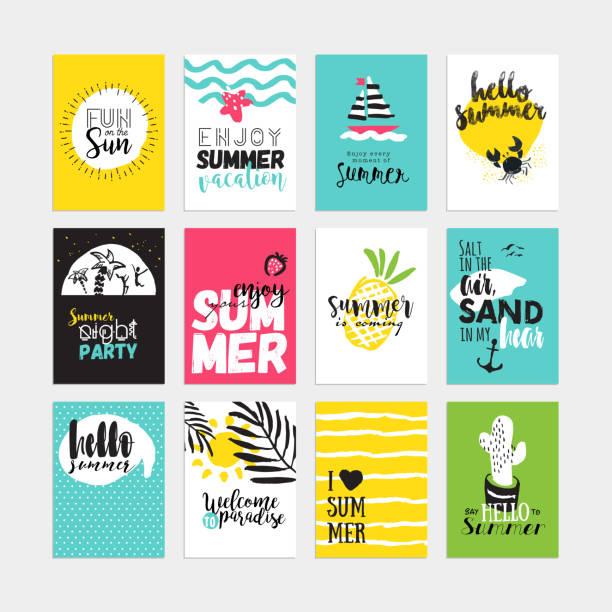 手描きの水彩夏のカードやバナーコレクション ベクターアートイラスト