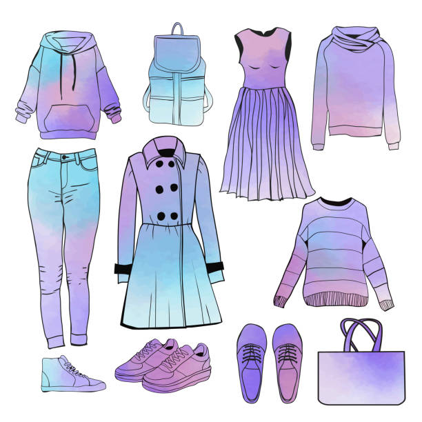 f8bdc5fd77b8 Hand drawn watercolor womens Spring collection fashion clothes. vector art  illustration