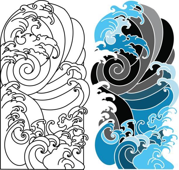 タトゥーのデザインの手描き波、日本のタトゥー、海と波の背景ベクトル セット - マリンのタトゥー点のイラスト素材/クリップアート素材/マンガ素材/アイコン素材