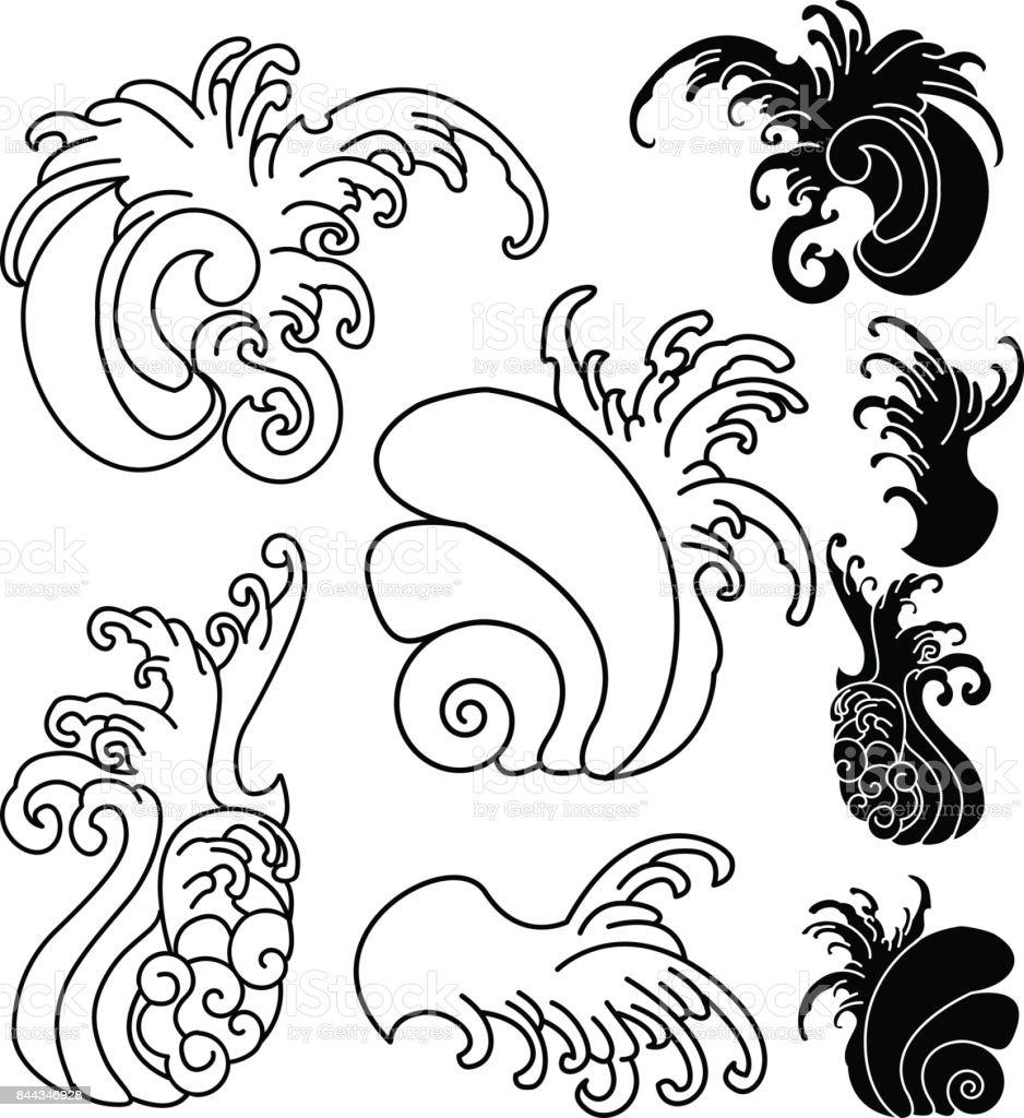 hand gezeichnete welle f r tattoodesign hintergrund f r japanische t towierung meer und welle. Black Bedroom Furniture Sets. Home Design Ideas