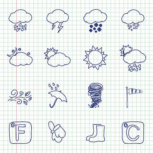 hand drawn wetter-icons - schneeflocke sonnenaufgang stock-grafiken, -clipart, -cartoons und -symbole