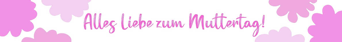 """Hand drawn web banner background with """" Alles Liebe zum Muttertag"""" quote in German. Translated Happy Mother´s Day. Whimsical spring, summer design concept, holiday lettering"""