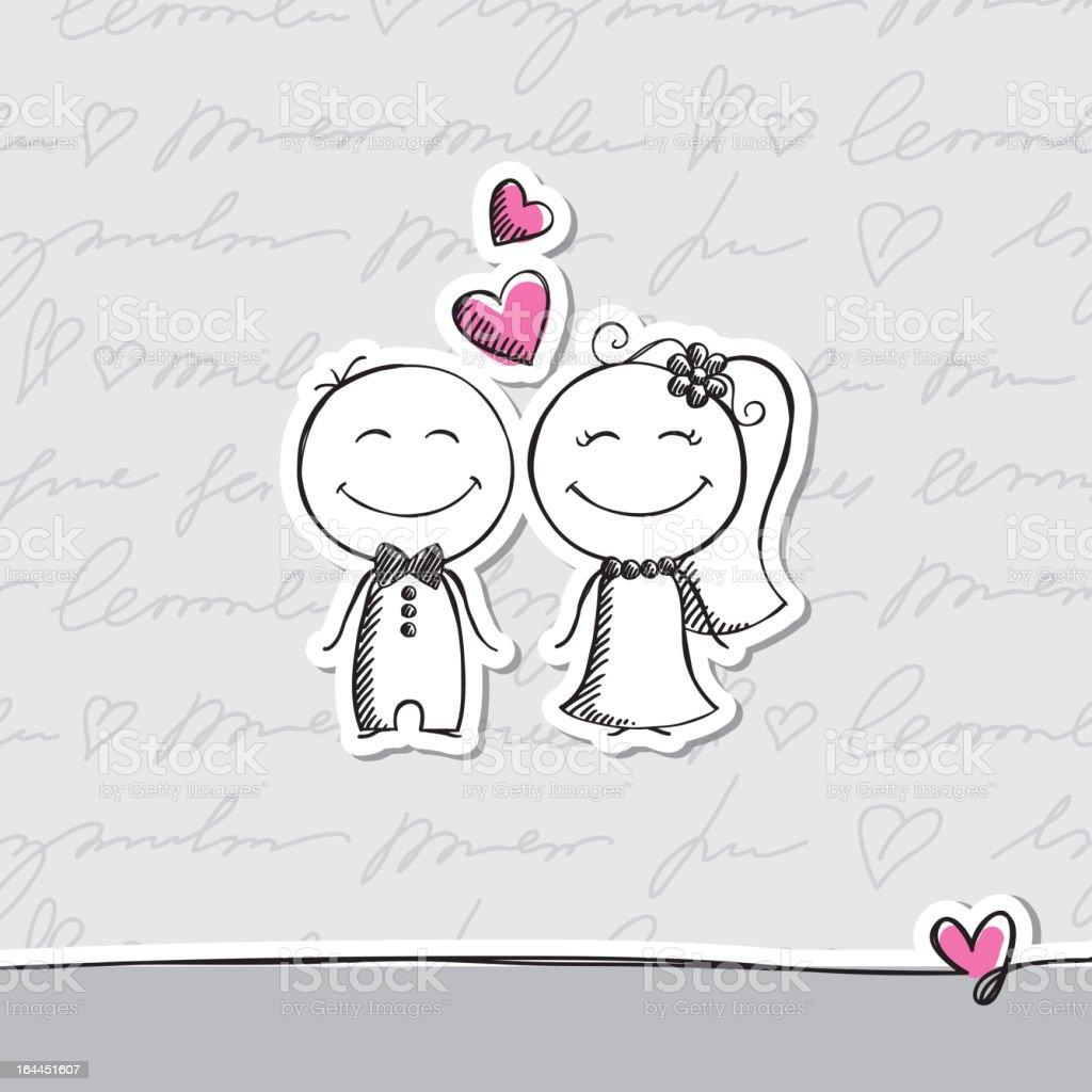 手描きの結婚式のカップルベクトル eps 10 - いたずら書きのベクター