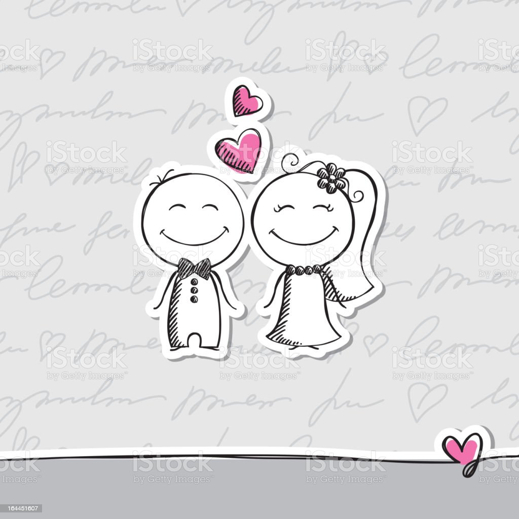 hand drawn wedding couple, vector eps 10 vector art illustration