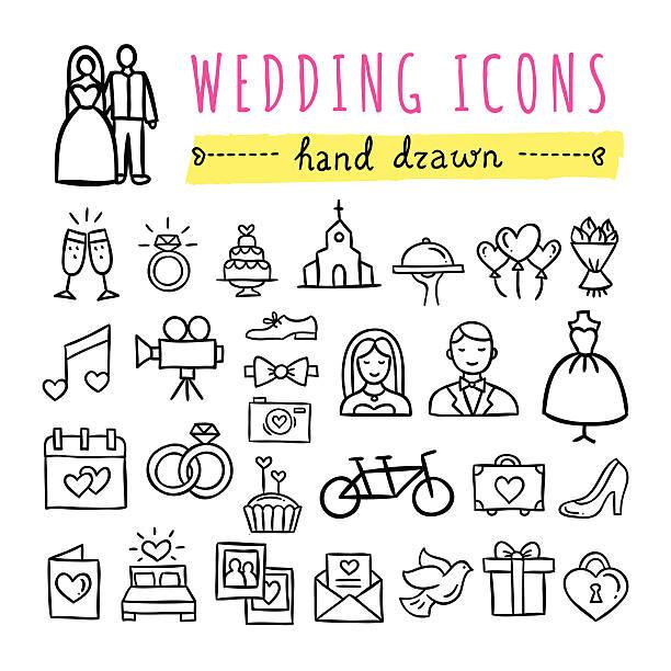 hand drawn hochzeit symbole. hochzeiten, verlobungsfeiern, liebe paar, flitterwochen und symbole - kirchenschmuck stock-grafiken, -clipart, -cartoons und -symbole