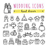 Hand drawn wedding icons. Marriage, engagement, love, couple, honeymoon symbols