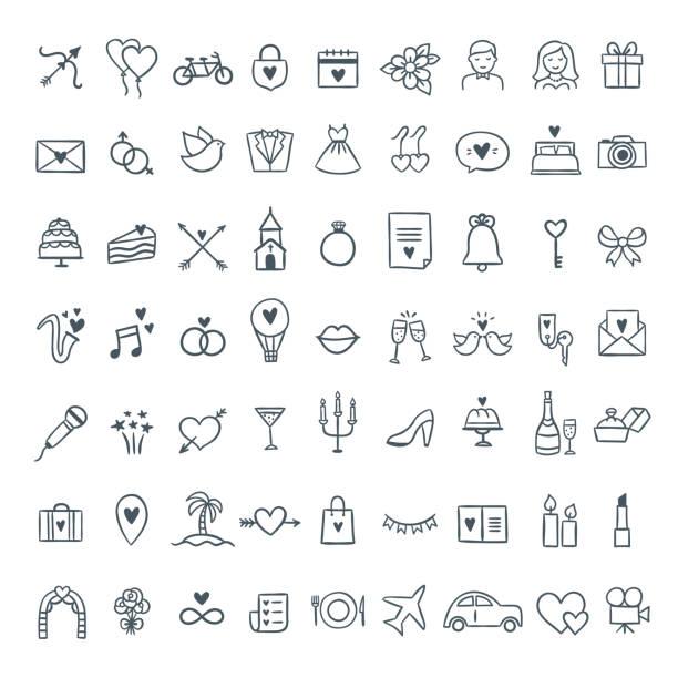 handgezeichnete hochzeit symbole festgelegt. gliederung symbole hochzeit und feier illustrationen. liebe, feier, geschenke-symbole - kirchenschmuck stock-grafiken, -clipart, -cartoons und -symbole