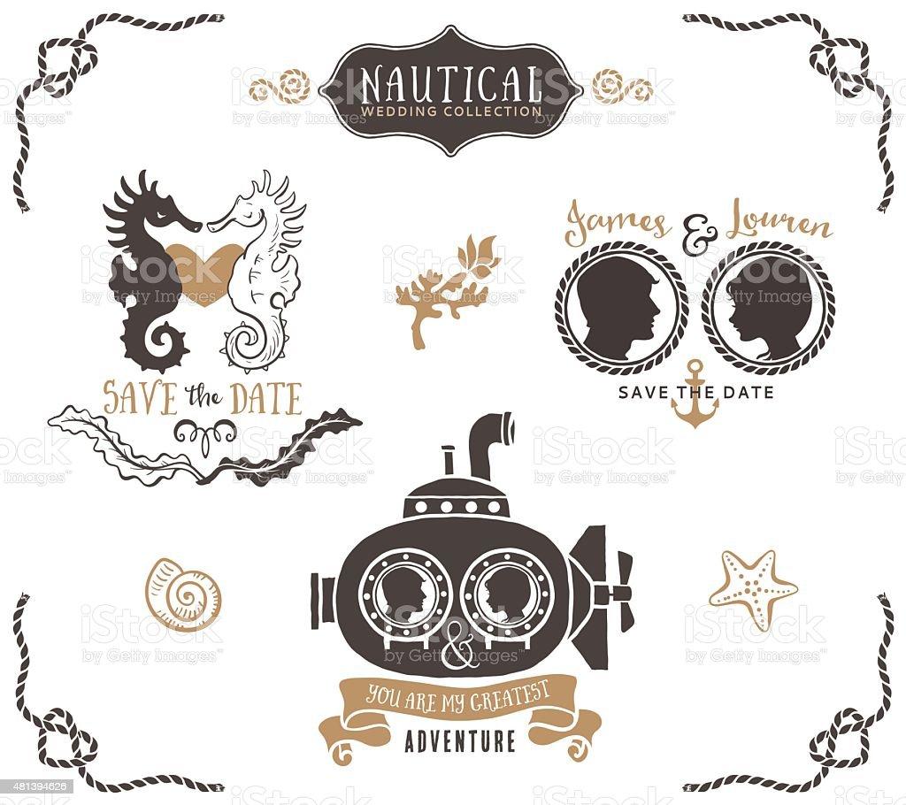 Hand drawn Hochzeit Einladung-logo-Vorlagen im nautischen Stil. – Vektorgrafik