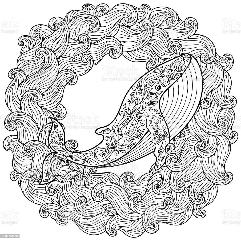 Disegnato A Mano Libera Di Balena In Onde Per Pagina Da Colorare