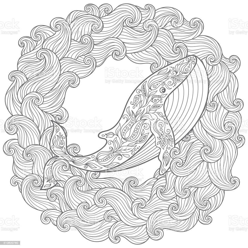 Ilustración De Ballena Dibujado A Mano En Las Olas Para Colorear
