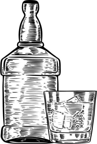 Hand drawn whiskey bottle with drinking glass. vector art illustration