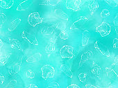 Hand Drawn White Sea Shells with Watercolor Turquoise Blue Abstract Background. Shells Vector Background, Tropical Background, Tropical Design Element, Summer Concept, Coastal Background.