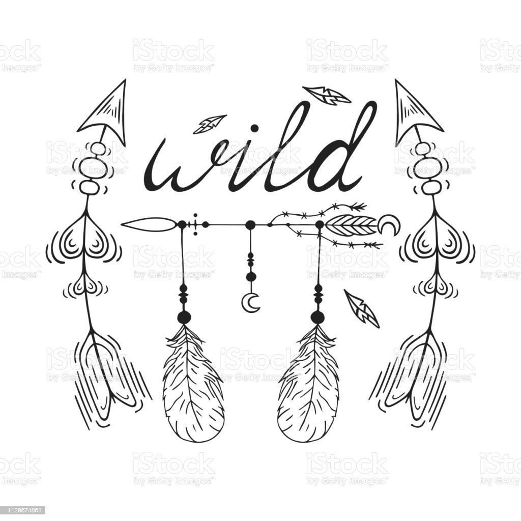 Bocetos De Tatuajes Tradicionales ilustración de mano dibuja boho salvaje del tatuaje de