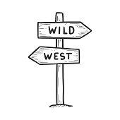 istock Hand drawn wild west direction sign element. 1345409159