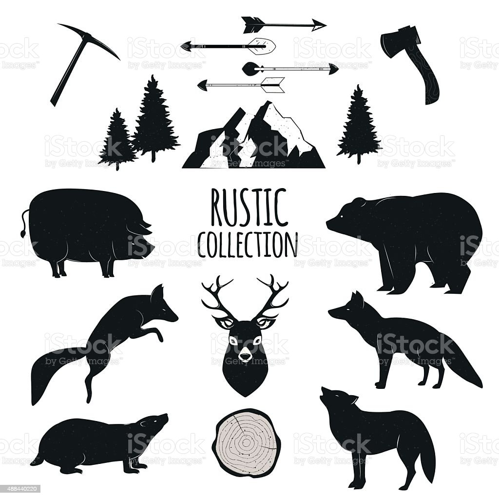 Hand Drawn wilderness animals and objects set vector art illustration