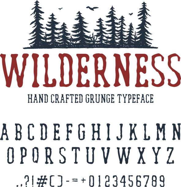 Hand drawn Wilderness font. Hand drawn Wilderness font. Latin alphabet vector letters, numbers, and signs. PIne trees vector illustration. wilderness stock illustrations