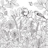 Hand drawn wildflowers, butterflies and birds.