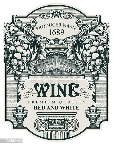 hand drawn wine label with a bunch of grapes