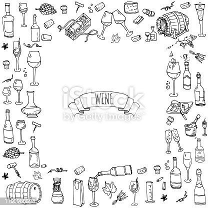 Hand drawn wine tasting icons set Vector illustration Sketchy liquor elements collection Cartoon alcohol symbols Vineyard background  Winery objects Grape. Glass Cheese Cork Barrel. Sparkling. Boose.