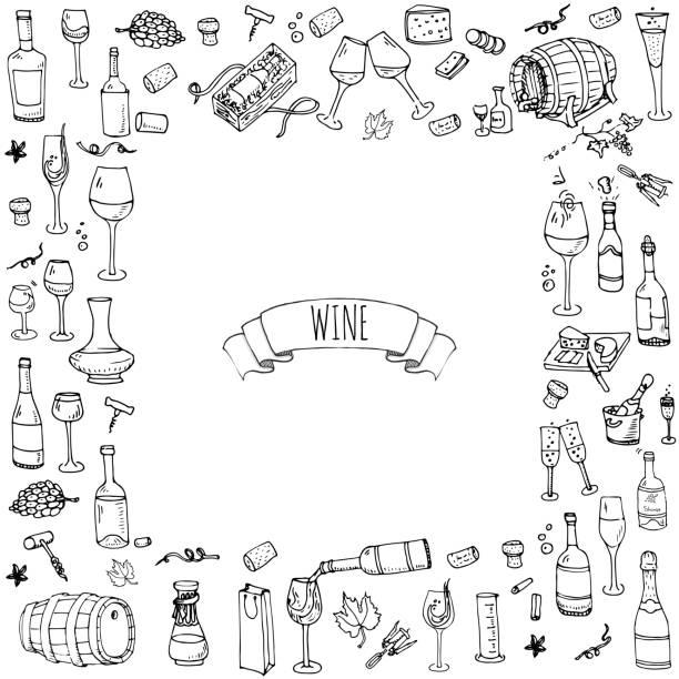 Hand drawn wine tasting icons set vector art illustration