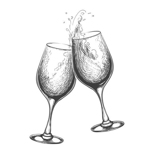 ilustrações, clipart, desenhos animados e ícones de brinde desenhado mão do vinho - brinde