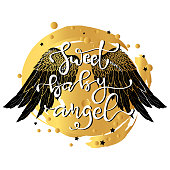 Hand drawn wings and lettering text with typography vector for tattoo or t-shirt printing and embroidery, Graphic tee and printed tee. Slogan print