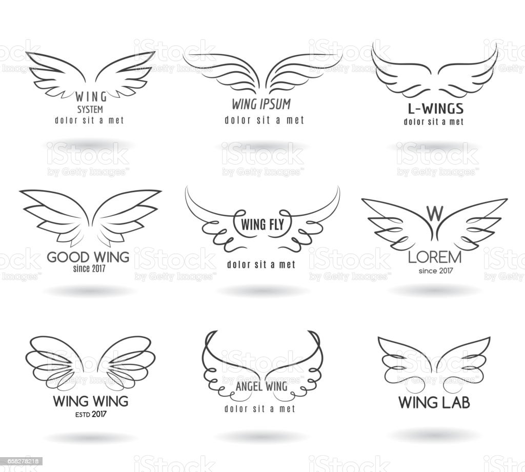 Hand drawn wings logo set. Vector doodle winged icons vector art illustration