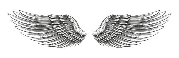 hand drawn wings - angels tattoos stock illustrations, clip art, cartoons, & icons