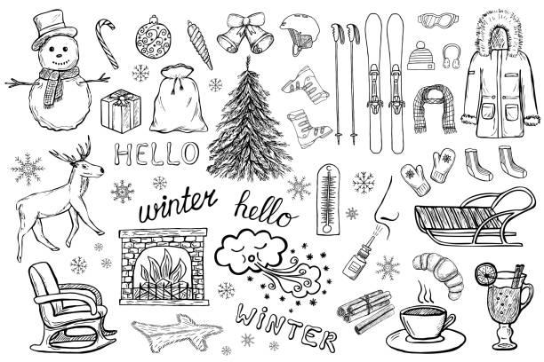 ilustrações de stock, clip art, desenhos animados e ícones de hand drawn winter and christmas vector icons - braseiro