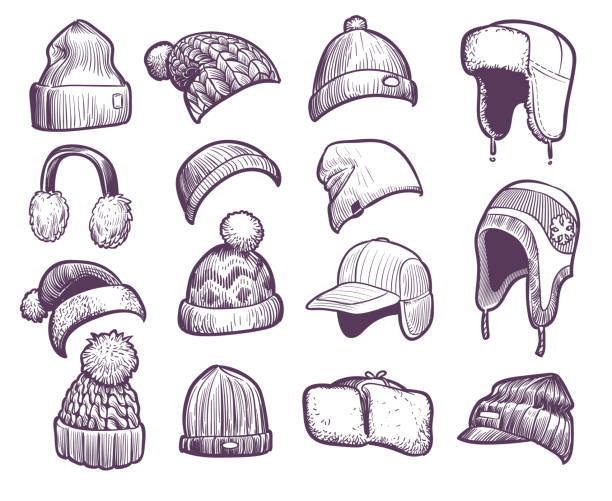 Hand drawn winter hats. Set of different knitted hat with pom pom and ear flap, fisherman beanie, sport cap headwear sketch vector set Hand drawn winter hats. Set of different knitted hat with pom pom and ear flap, fisherman beanie, sport cap headwear sketch vector warm christmas fur headphones and caps set knit hat stock illustrations