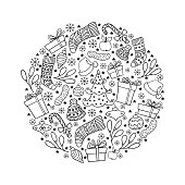 Hand drawn winter holiday symbols in a circle. Black and white Christmas vector illustration