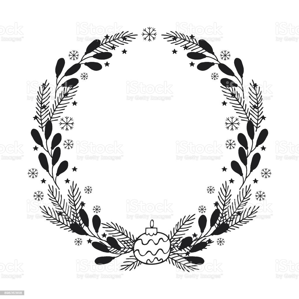 hand drawn winter holiday wreath a template of greeting card design