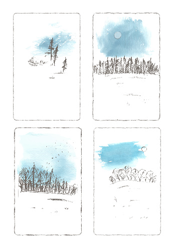 Hand drawn winter landscape with forrest, snow field, sky and sun