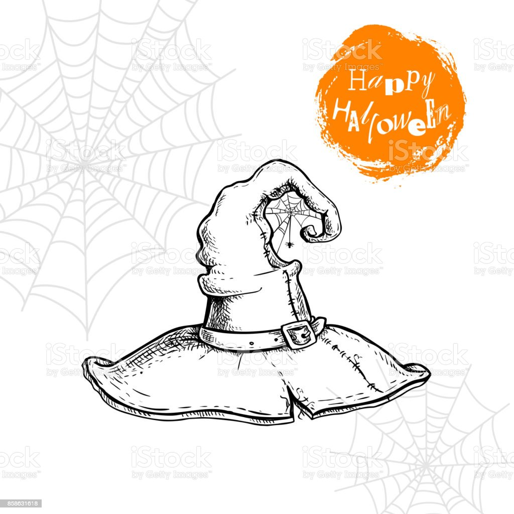 30467187c Hand Drawn Witch Hat With Spiderweb And Spider Halloween Party ...