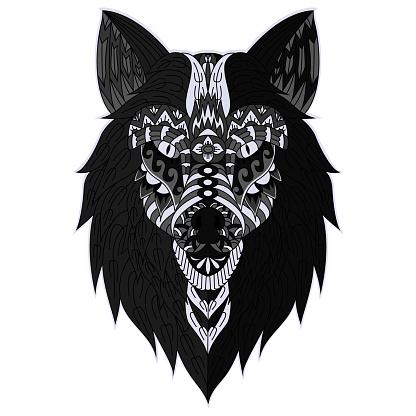 Hand drawn wolf head illustration