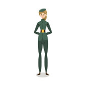 Hand drawn young caucasian woman in elegant green military uniform working in forces over white background vector illustration. Elegant policewoman concept