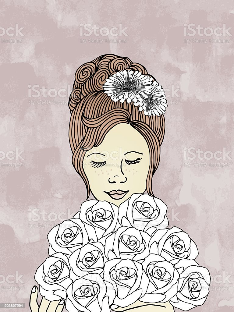 Hand drawn woman with bouquet of roses vector art illustration