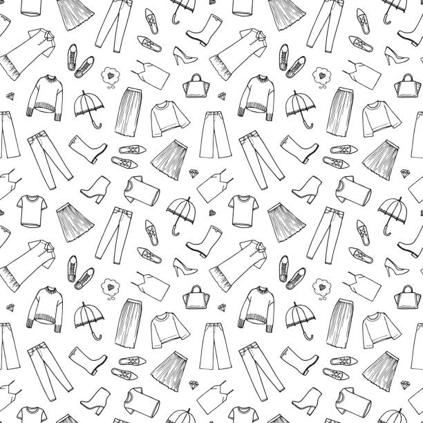 ręcznie rysowana odzież damska. ilustracja wektorowa na białym tle. bezszwowy wzór - odzież stock illustrations
