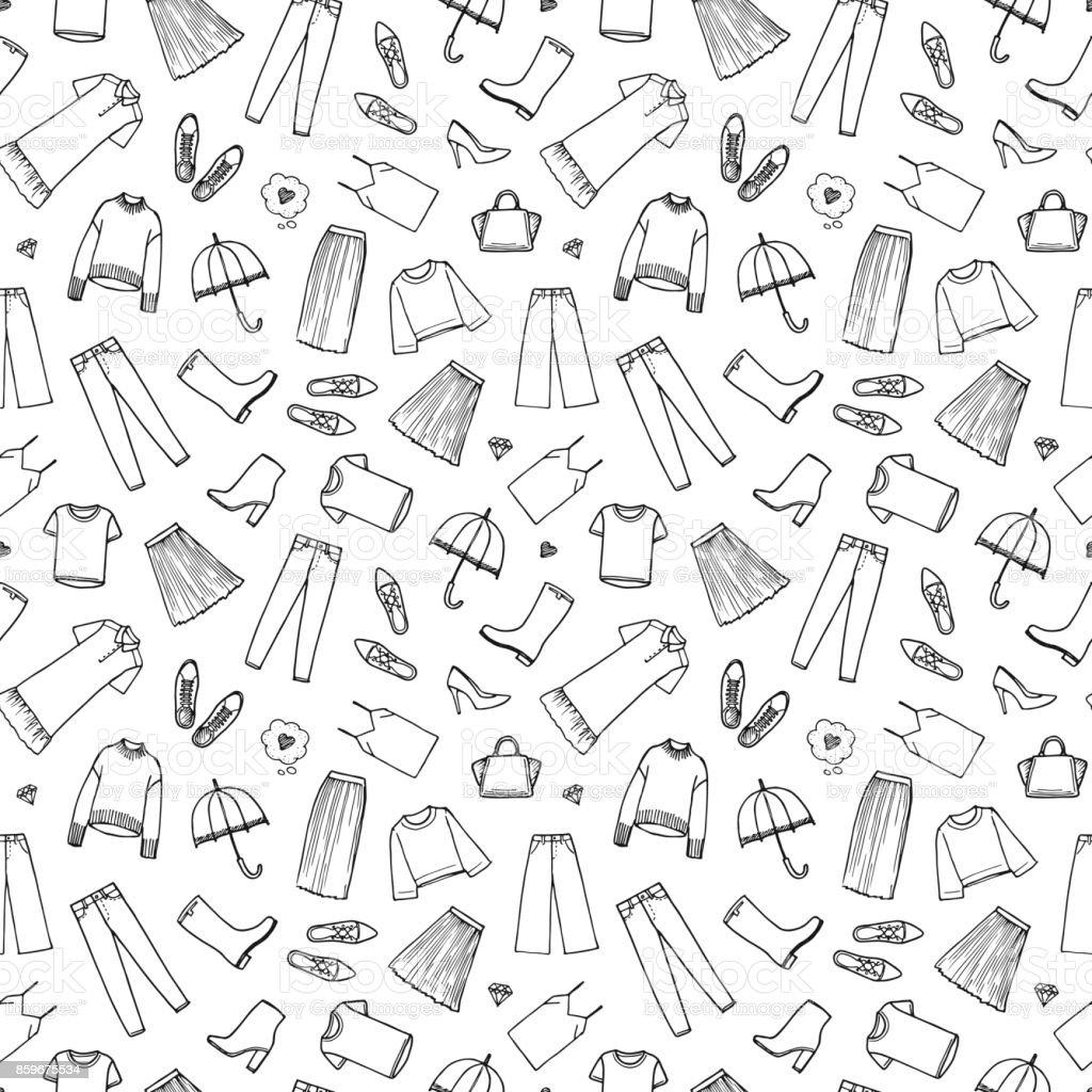 Handgezeichnete Damenbekleidung. Vektor-Illustration auf weißem Hintergrund. Nahtlose Muster – Vektorgrafik